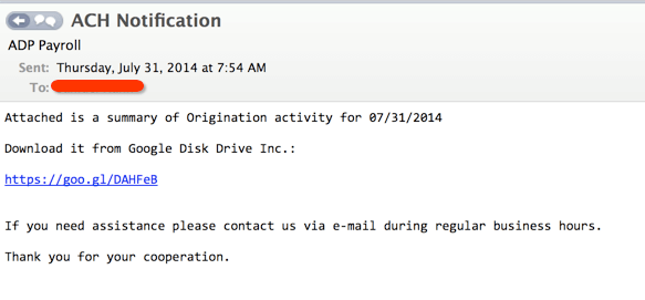 Phishing Emails - Link hidden behind link shortener