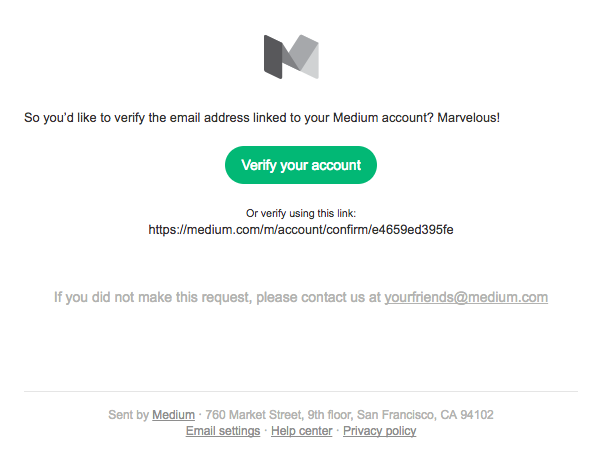Medium welcome email template