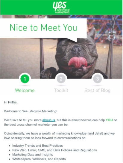 lifecycle-marketing-welcome-email, b2b marketing automation case study