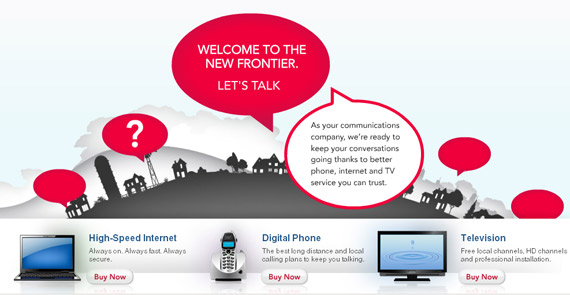 frontier landing page